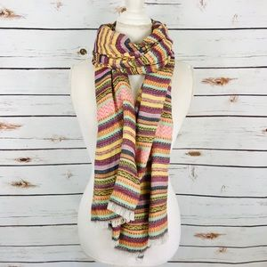J. Crew Embroidered Stitch Stripe Scarf Fair Isle